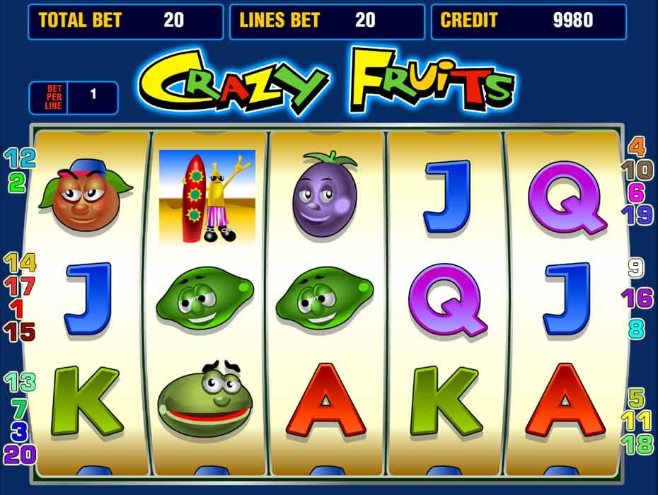 Правила игры в автомате Crazy Fruits.Топовый игровой автомат онлайн Крейзи Фрутс имеет классическую механику, состоящую из 5 барабанов и от 1 до 20 линий.